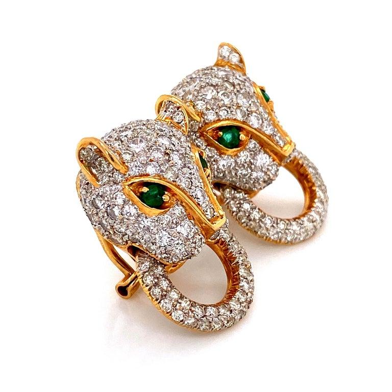 Mixed Cut 7.05 Carat Diamond Door Knocker Panther Gold Earrings Estate Fine Jewelry For Sale