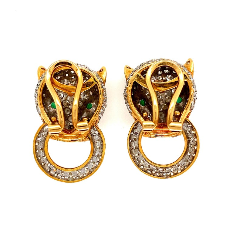 Women's 7.05 Carat Diamond Door Knocker Panther Gold Earrings Estate Fine Jewelry For Sale