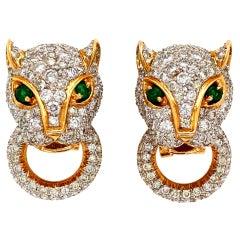7.05 Carat Diamond Panther Door Knocker Gold Earrings Estate Fine Jewelry