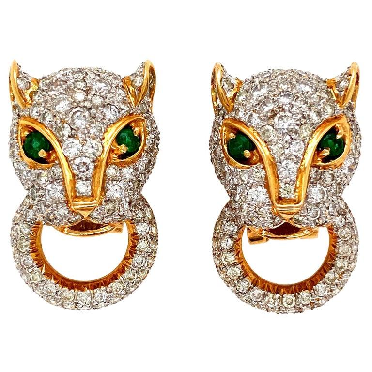7.05 Carat Diamond Door Knocker Panther Gold Earrings Estate Fine Jewelry For Sale