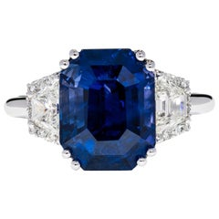 7.05 Carat GRS Ceritified Non Heated Sapphire and Natural Certified Diamond Ring