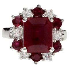 7.05 Carat Impressive Natural Red Ruby and Diamond 14 Karat White Gold Ring