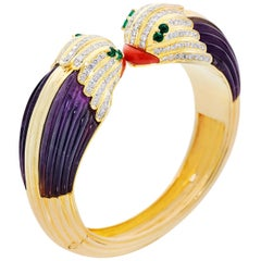 7.05 Carat of Diamond, Columbian Emerald, Carved Coral and Amethyst Bird Bangle