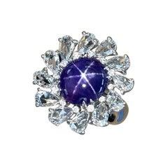 7.05 Carat Purple Star Sapphire Rose Cut Diamond Cocktail Ring, Top Gem Quality