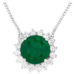 Emerald Classic Round White Diamond Halo Necklace Pendant 14K White Gold Franco