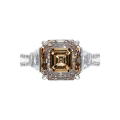 7.05ct Deep Autumn Brown Asscher Diamond Ring