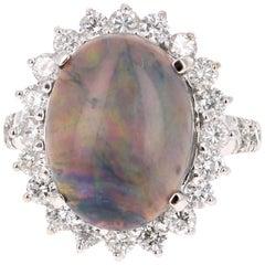 7.06 Carat Black Opal Diamond 14 Karat White Gold Ring