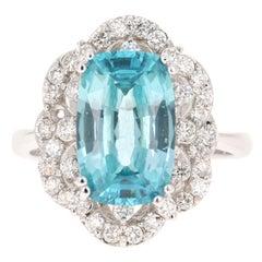 7.06 Carat Blue Zircon Diamond 14 Karat White Gold Ring