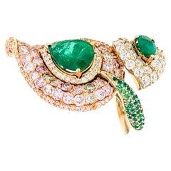 7.06 Carat Pink Diamonds and Emerald Ring 18 Karat Gold
