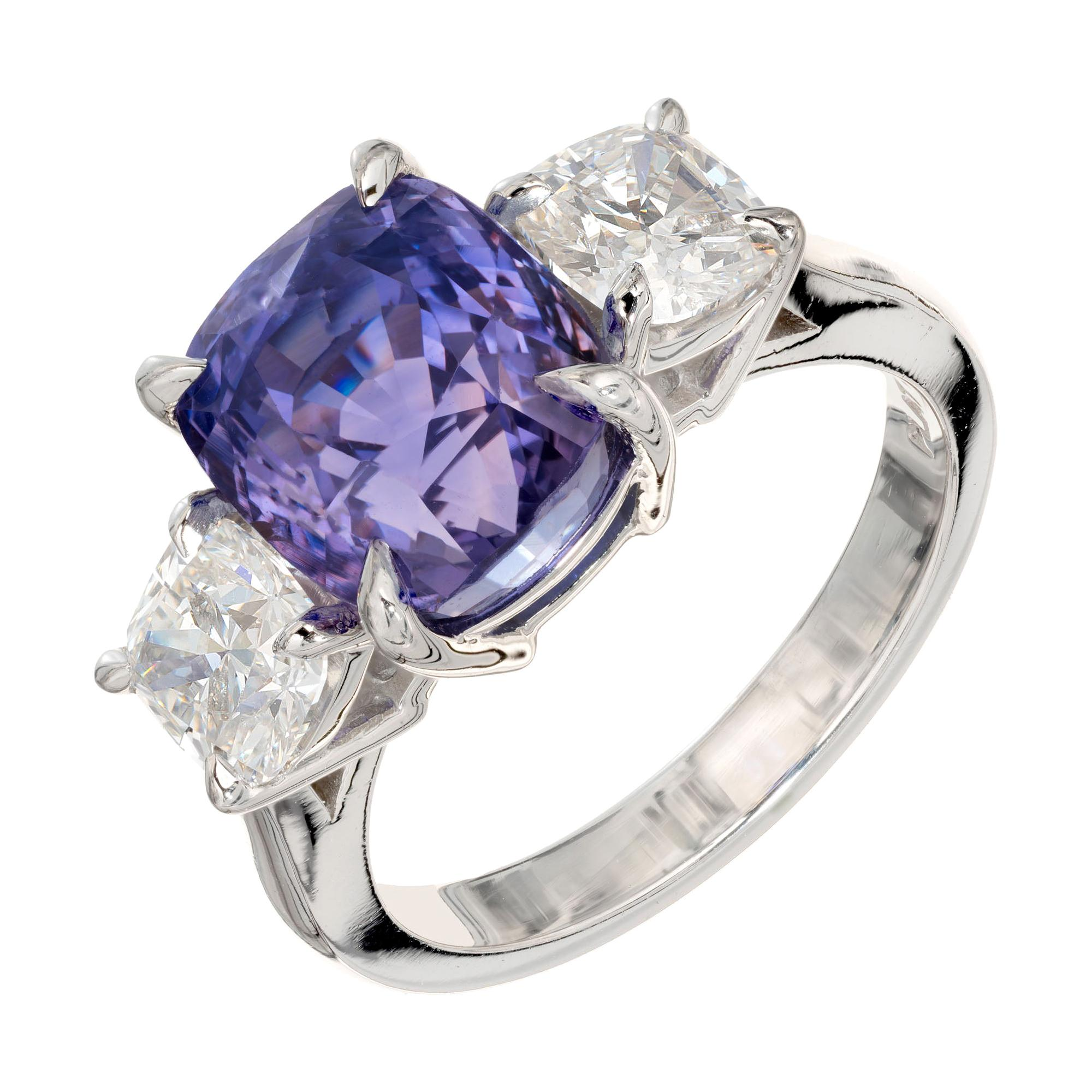 7.06 Carat Purple Sapphire Diamond Platinum Three-Stone Engagement Ring
