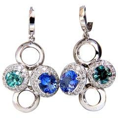 7.07 Carat Natural Tanzanites Zircon Diamonds Circle Dangle Earrings 14 Karat