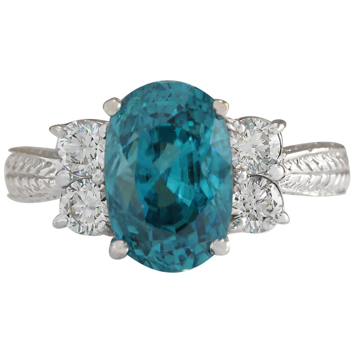 7.07 Carat Natural Zircon 18 Karat White Gold Diamond Ring