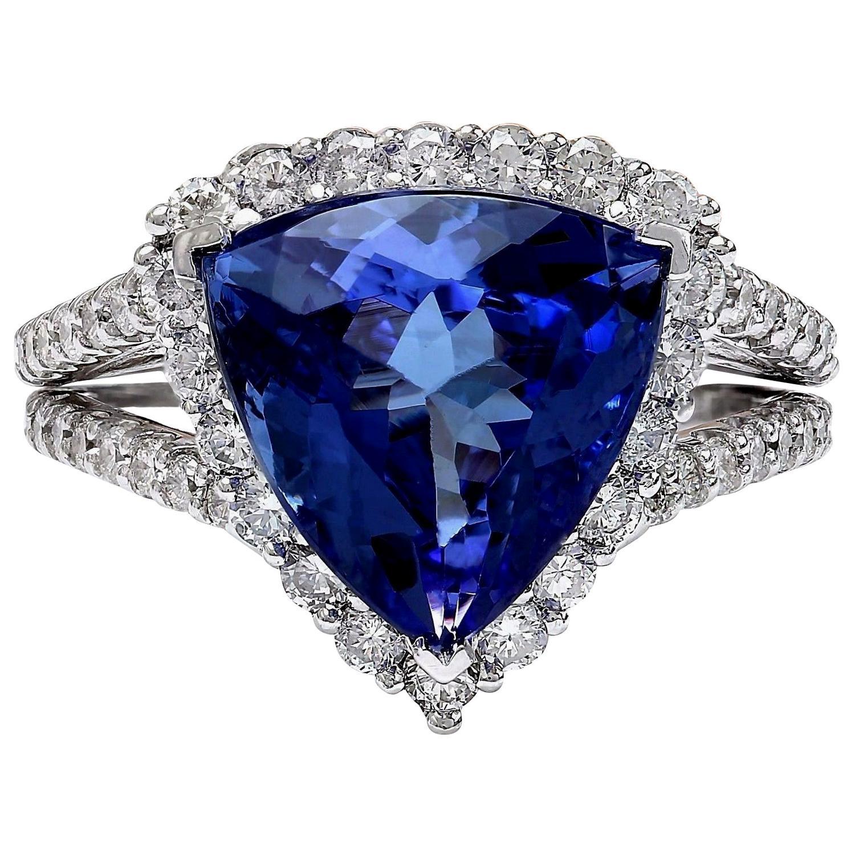 7.07 Carat Tanzanite 18 Karat Solid White Gold Diamond Ring
