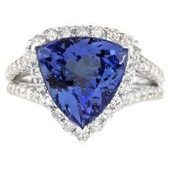 7.07 Carat Tanzanite 18 Karat White Gold Diamond Ring