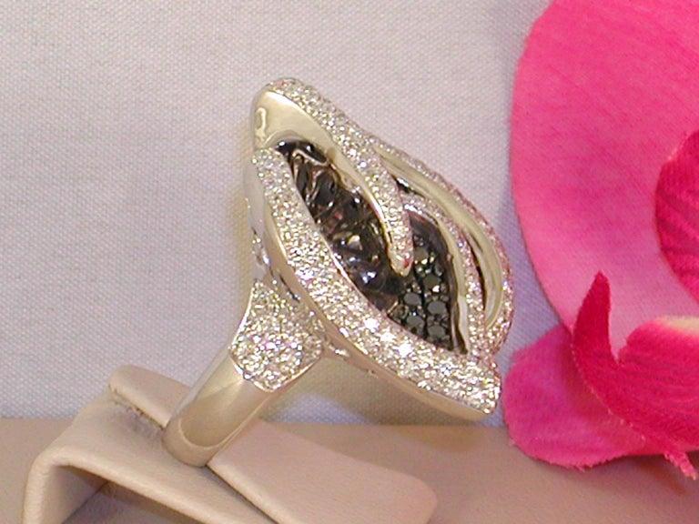 Contemporary 7.07 Carat White Gold Black Diamond Cocktail Ring For Sale