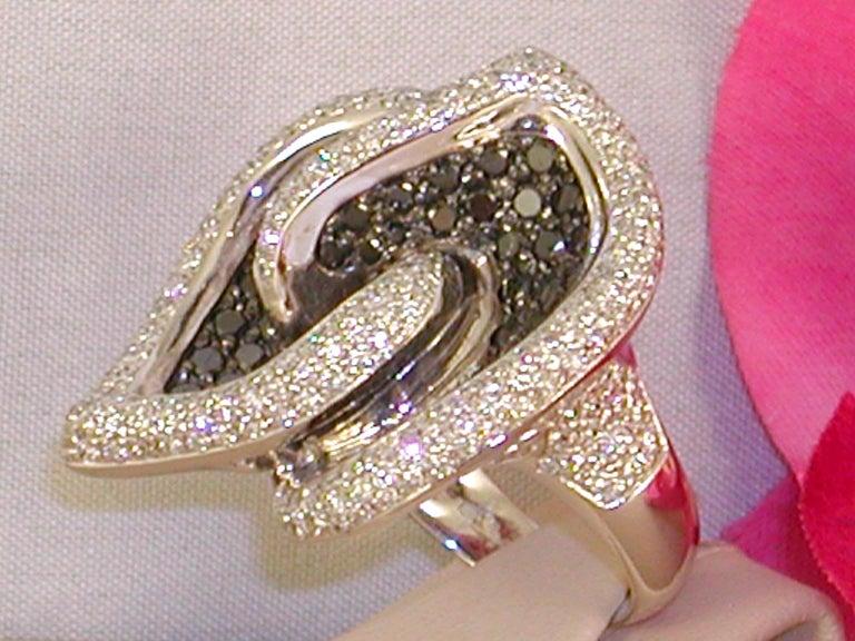 Women's 7.07 Carat White Gold Black Diamond Cocktail Ring For Sale