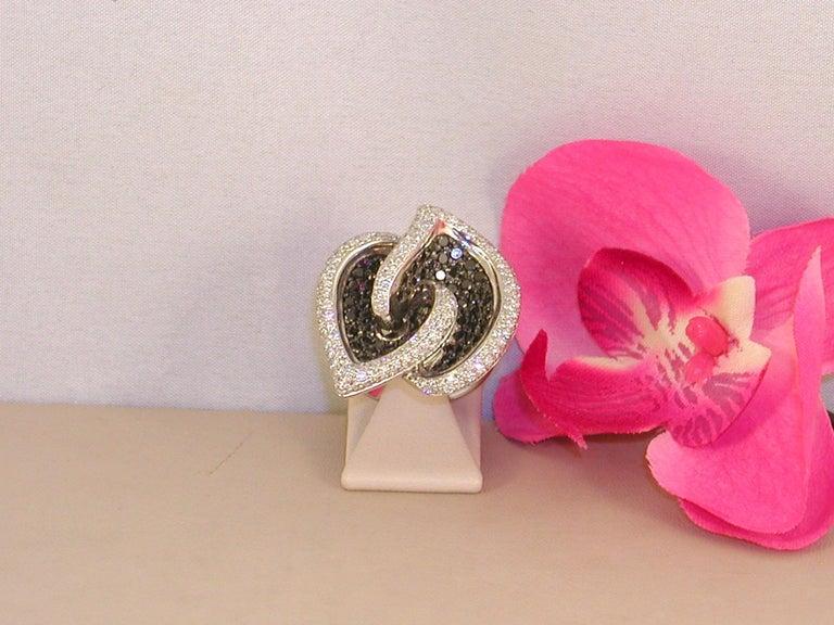 7.07 Carat White Gold Black Diamond Cocktail Ring For Sale 1