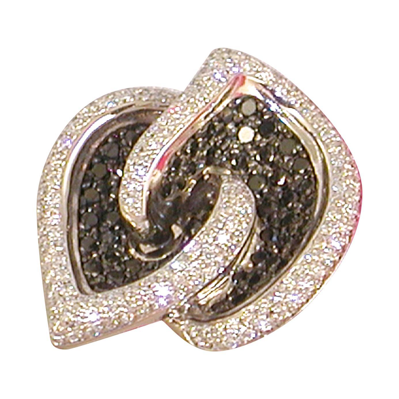 7.07 Carat White Gold Black Diamond Cocktail Ring