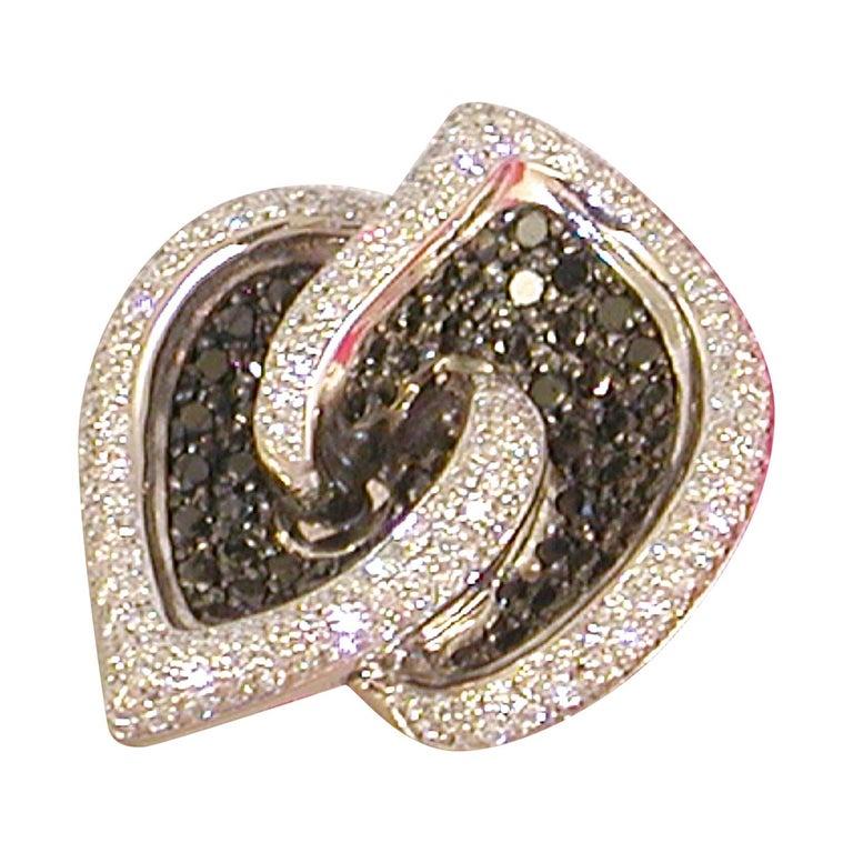 7.07 Carat White Gold Black Diamond Cocktail Ring For Sale