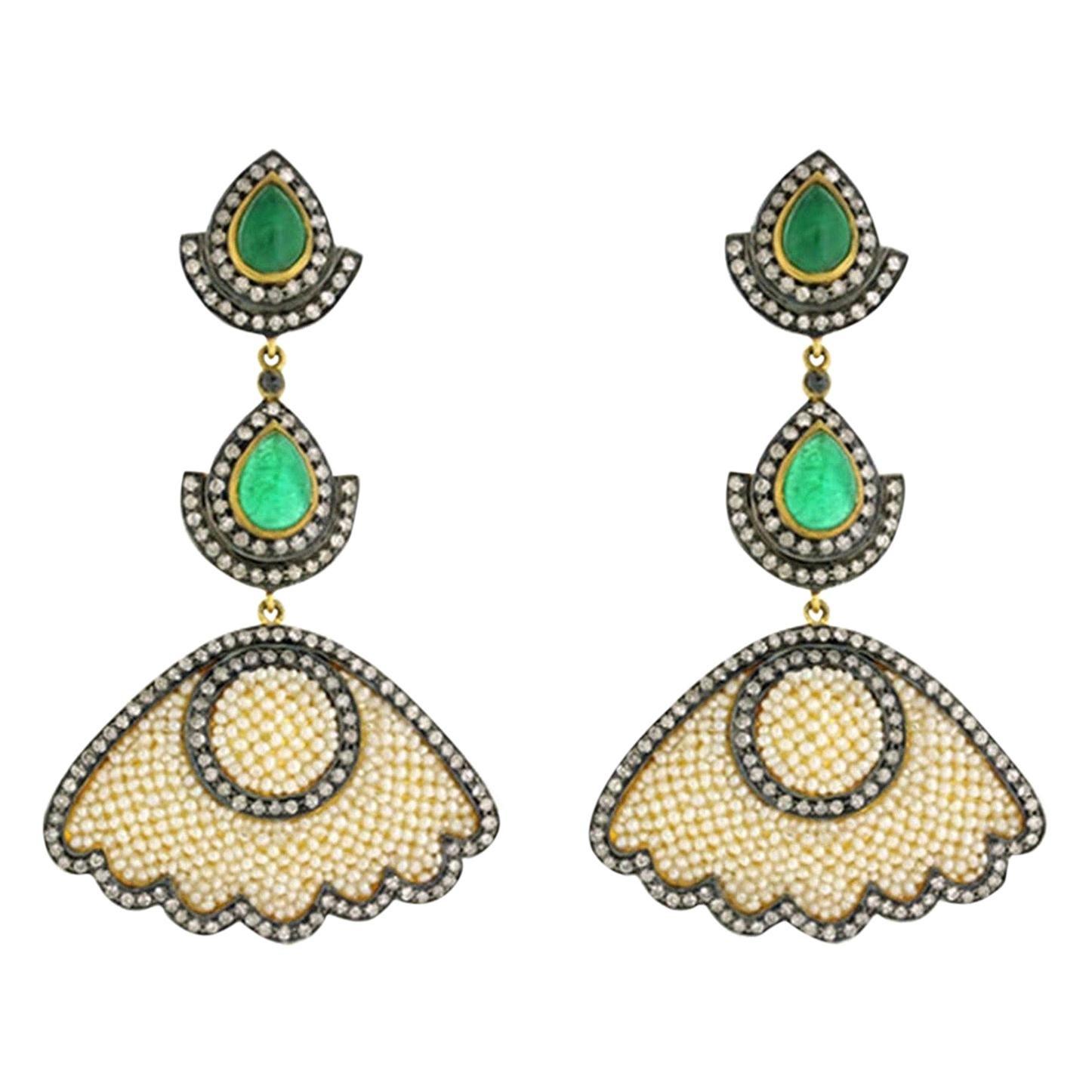 7.08 Carat Emerald Pearl Diamond Earrings