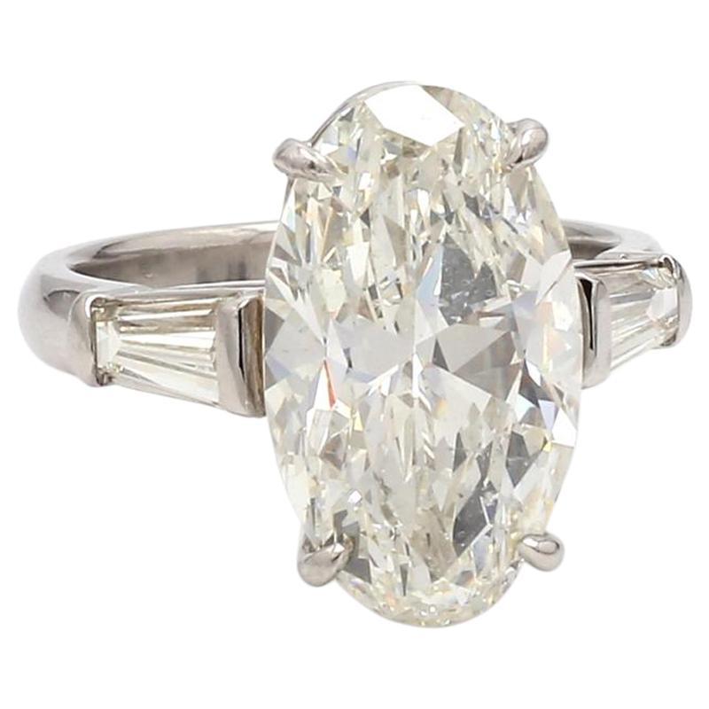 7.08 Carat J SI1 Oval Cut Diamond Ring, GIA Certified