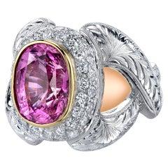 7.08 Carat Pink Sapphire 'GIA' & Diamond White, Yellow Gold Cocktail Band Ring