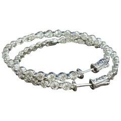 7.09 Carat Diamond Inside Out Hoop Gala Cocktail Earrings in 14 Karat White Gold