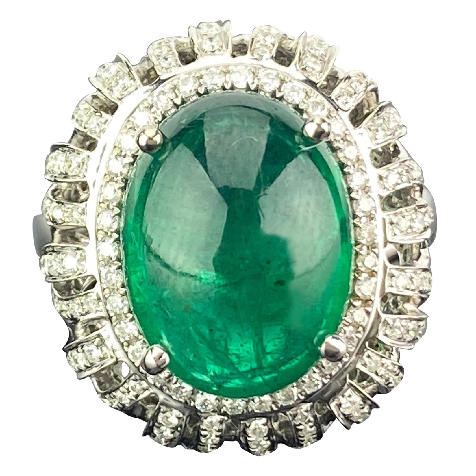7.09 Carat Emerald Cabochon and Diamond Cocktail Ring