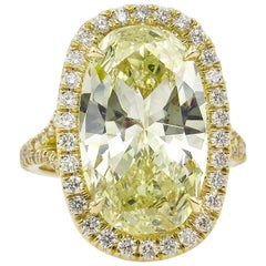 7.09 Carat Estate Vintage Oval Diamond Wedding Yellow Gold Ring EGL USA