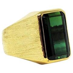 7.09 Carat Men's Emerald Cut Green Tourmaline Signet Style Ring 18 Karat Gold