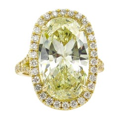 7.09 Carat Oval Diamond Halo Engagement Wedding Yellow Gold Ring EGL, USA