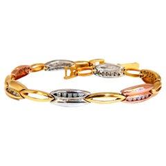 .70ct CZ Channel Set Arch Link Bracelet 14kt Solid
