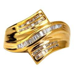 .70 Carat Natural Baguette Diamonds Cross over Band 10 Karat Gold