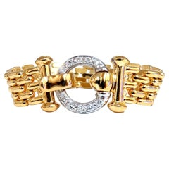 .70ct Natural Round Diamonds Circle Toggle Deco Bracelet 14kt Panther