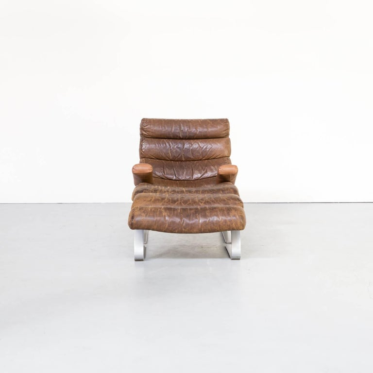 German 1970s Adolf & Schräpfer 'Sinus' Chair and Ottoman for COR For Sale