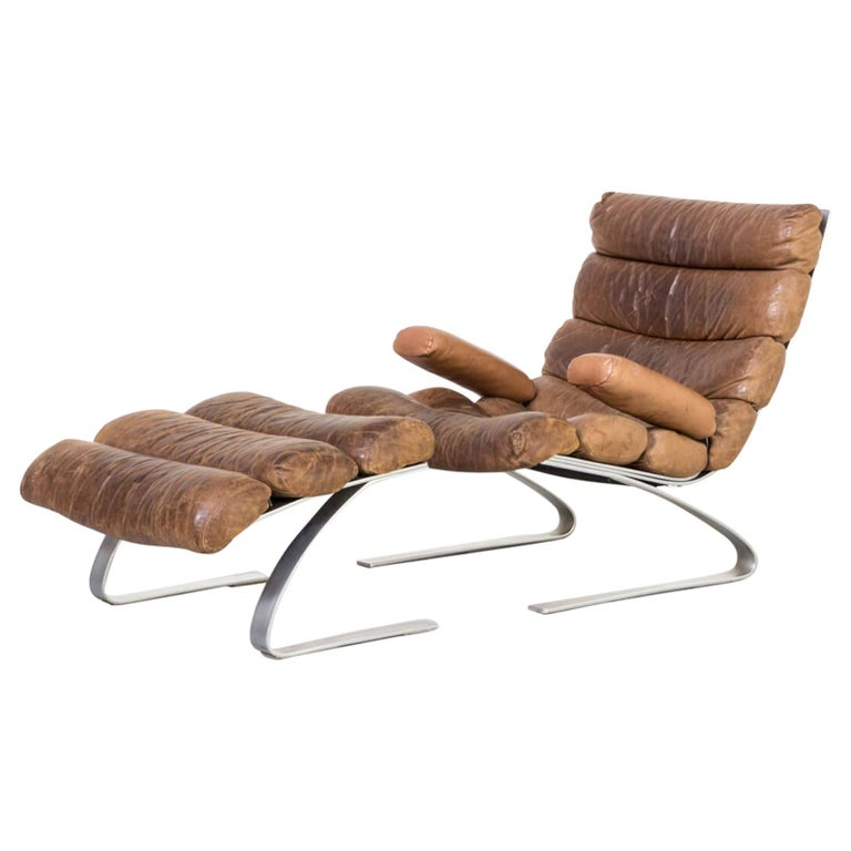 1970s Adolf & Schräpfer 'Sinus' Chair and Ottoman for COR For Sale