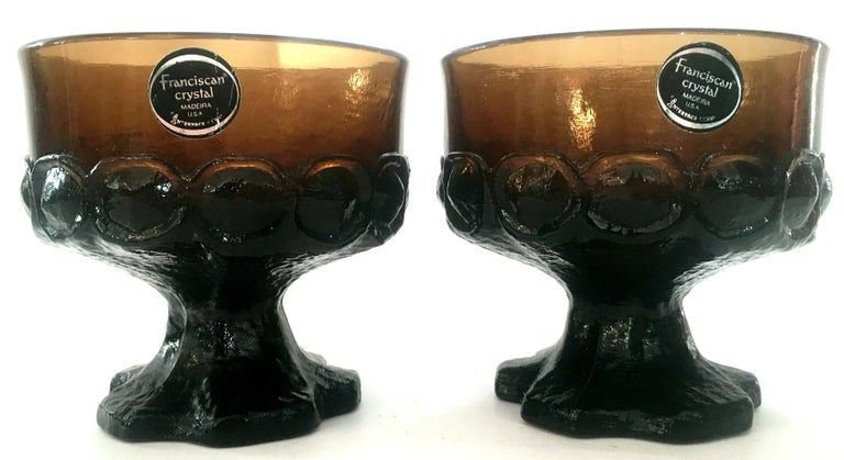 American 1970s America Blown Glass Footed Stem Drink Glasses by Franciscan, Set of 12