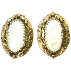 70's Art Nouveau Style Gold & Mother Of Pearl Earrings By, Whiting & Davis