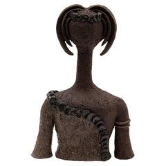 70s Art Pottery Female Sculpture Bust of a Girl, Belgium