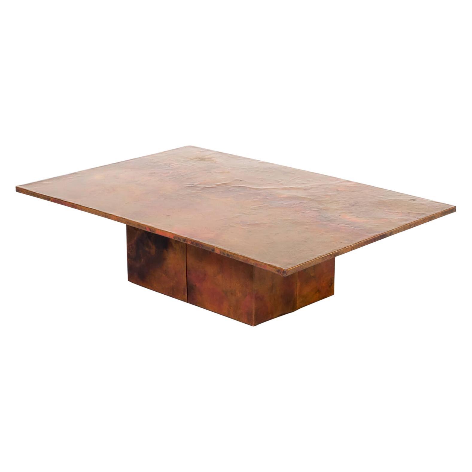 70s Artwork Copper Rare Coffee Table