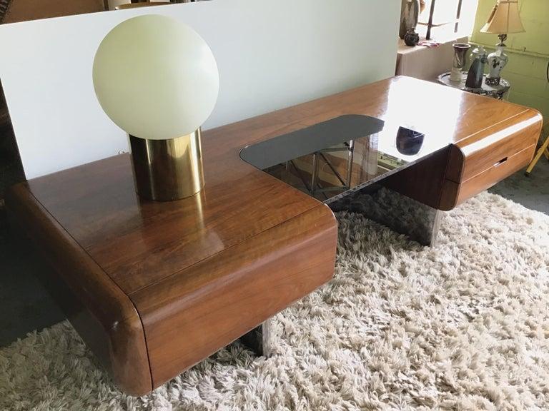Brass 1970s Attribute Sonneman Large Globe Lamp For Sale