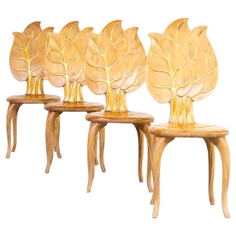 70s Bartolozzi & Maioli Wooden Leaf Chair Set/4