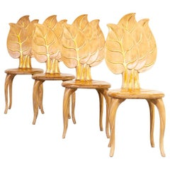 70s Bartolozzi & Maioli Wooden Leaf Chair Set/4