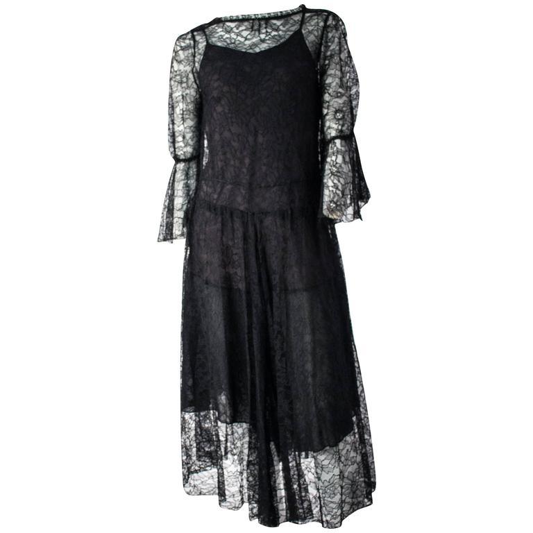 Women's 70s Black Lace Dress and Slip.  For Sale