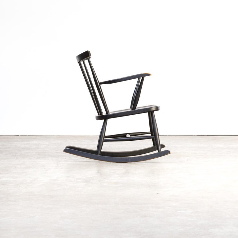 Late 20th Century 1970s Black Lacquered Wooden Rocking Chair For Sale