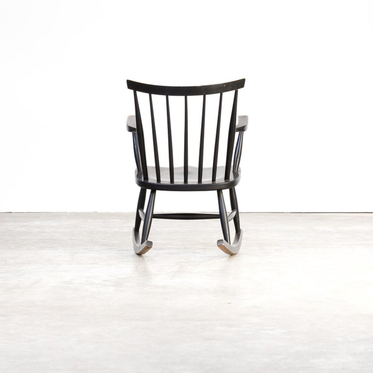 1970s Black Lacquered Wooden Rocking Chair For Sale 1