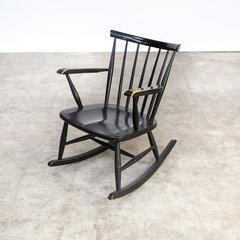 1970s Black Lacquered Wooden Rocking Chair For Sale 2
