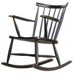 1970s Black Lacquered Wooden Rocking Chair