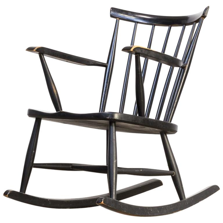 1970s Black Lacquered Wooden Rocking Chair For Sale