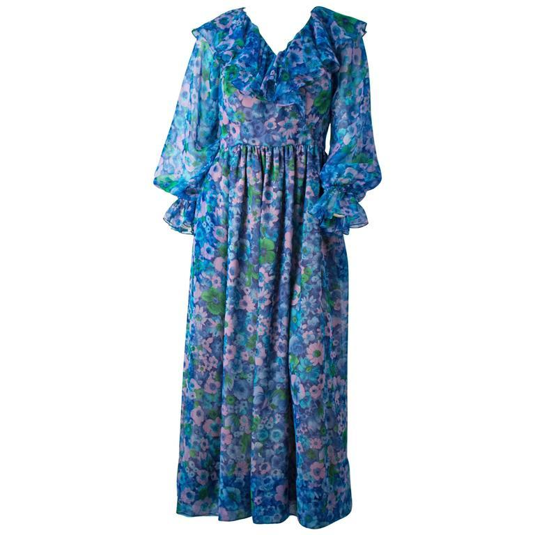 70s Blue Floral Vintage Chiffon Ruffle Dress For Sale 1